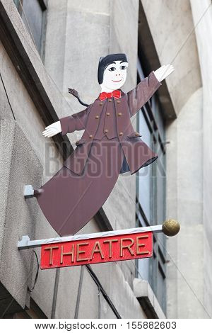 Lyon, France - October 12, 2016: Guignol theater in Lyon. Guignol is the main character in a French puppet show which has come to bear his name. Guignol is a symbol of Lyon