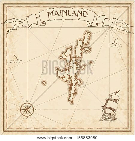 Mainland Old Treasure Map. Sepia Engraved Template Of Pirate Island Parchment. Stylized Manuscript O