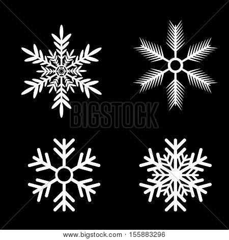Snowflakes vector set for Christmas design. white snow flake icon set