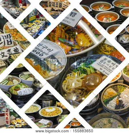 Collage Of Korean Side Dishes At Local Market In Seoul, South Korea - Travel Background (my Photos)