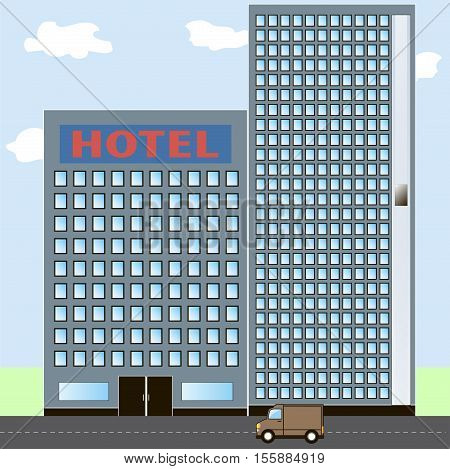 Hotel icon on city landscape. Flat style vector illustration.