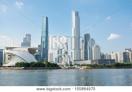 Guangzhou, China - Sep 13, 2016: Guangzhou City Waterline Cityscape, China