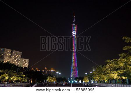 Guangzhou, China - Sep 13, 2016: Guangzhou Canton Tower, Night View, Guangdong Province, China
