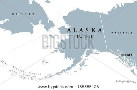 alaska political map with capital juneau u s state in the northwest of the americas with