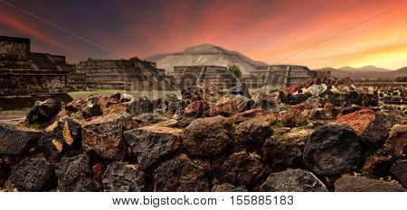 Sunset over the mystical ruins of the ancient Mayan city of Teotihuacan.panoramic view