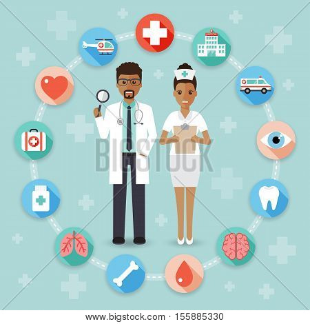 doctor and nurse with medical flat design people character and icon set.