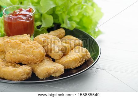 Fast food chicken nuggets. Fried chicken nuggets.