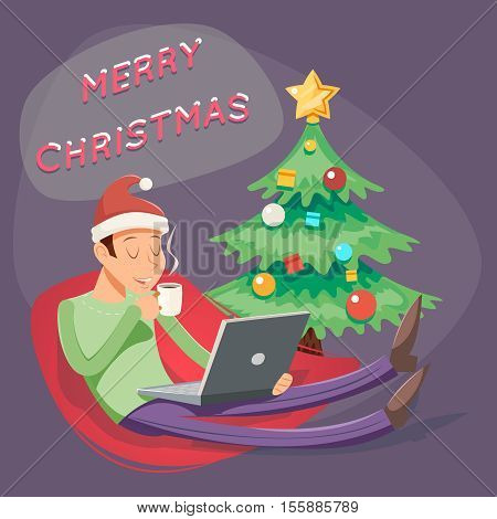 Christmas Cartoon Geek Eager Beaver Symbol Man Laptop Drinks Coffee Tea Icon Retro Design Vector Illustration