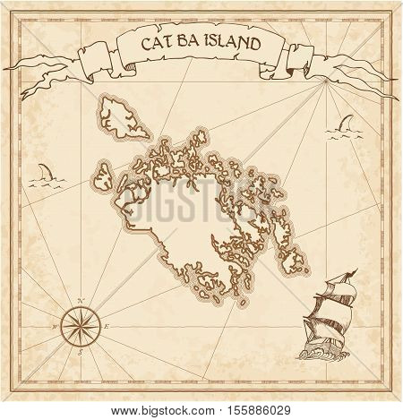 Cat Ba Island Old Treasure Map. Sepia Engraved Template Of Pirate Island Parchment. Stylized Manuscr