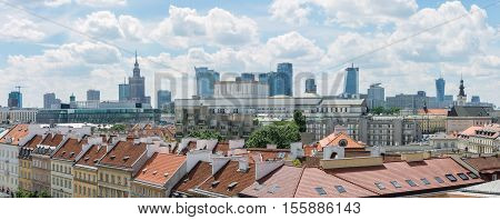 WARSAW POLAND - JUNE 16: Warsaw cityline panorama with view of Novi svijet rooftops and landmark buildings