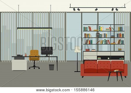 Director's office in flat style with working place, bookshelf and lounge zone.