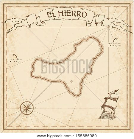 El Hierro Old Treasure Map. Sepia Engraved Template Of Pirate Island Parchment. Stylized Manuscript