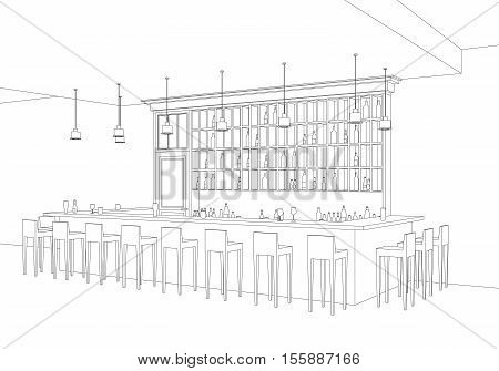 Line interior of  bar restaurant. Vector perspective view of interior with bar table, stools and shelves with alcohol.