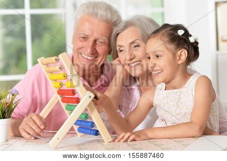 Portrait of a happy grandparents with granddaughter playing together