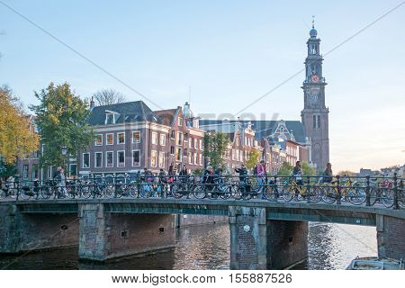 City scenic from Amsterdam with the Westerkerk in the Netherlands