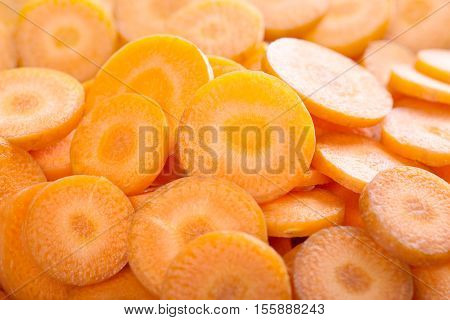 background of carrot slices. carrot background nature.