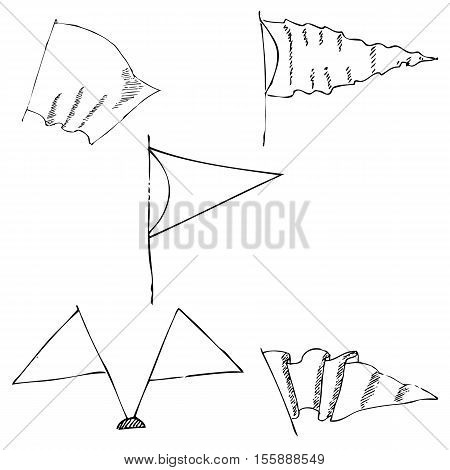 Flags sketch. Pencil drawing by hand. Vector image