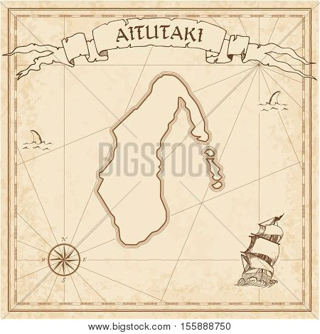 Aitutaki Old Treasure Map. Sepia Engraved Template Of Pirate Island Parchment. Stylized Manuscript O