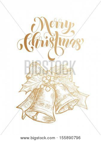 Merry Christmas jingle bells. Gold glitter bell ornament decoration, holly bow tie. Christmas greeting modern trend card, poster lettering design. Vector golden glittering on white background
