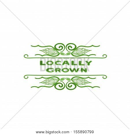 Background with words locally grown. Farm product labels. Locally grown.