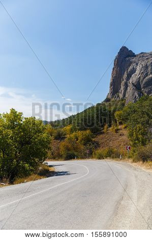 Russia. Crimea. Sudak. 13.09. 2016 Autumn mountain landscape in winding road