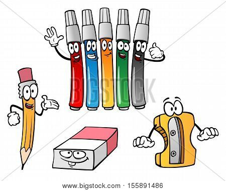 cartoon pencil eraser markers sharpener on a white background