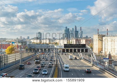 Moscow, Russia-October 01.2016. View of Andreyevsky Bridge and a business center Moscow City