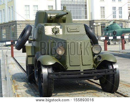 Upper Pyshma, Russia - July 2, 2016: Light armored car BA-3 sample 1934 in the Museum of Military Equipment.