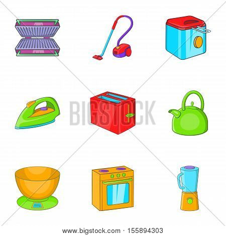 Home appliances icons set. Cartoon illustration of 9 home appliances vector icons for web