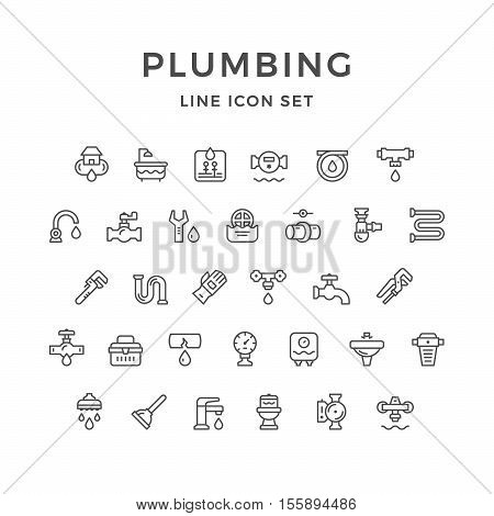 Set line icons of plumbing isolated on white. Vector illustration