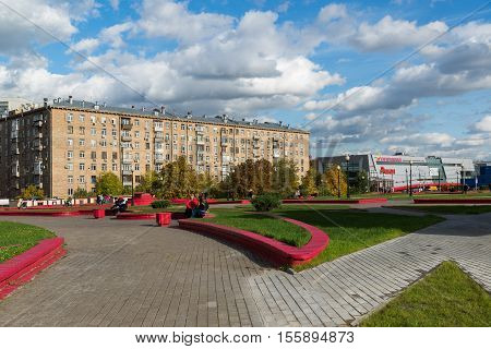 Moscow, Russia-October 01.2016. Gagarin Square over a road tunnel