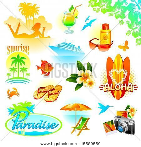 Tropical resort, travel and exotic holidays vector set