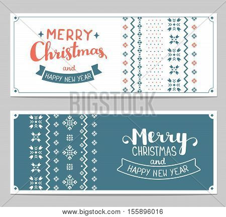 Two Vector Christmas Stylized Illustration With Handwritten Text Merry Christmas And Knitting Patter