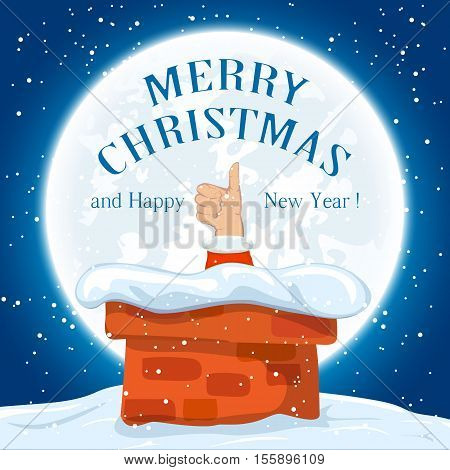 Christmas night, Santa shows thumb up in the chimney on the roof, holiday background with inscriptions Merry Christmas and Happy New Year, illustration.