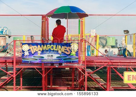 Trampolines At The Funfair On Brighton Pier
