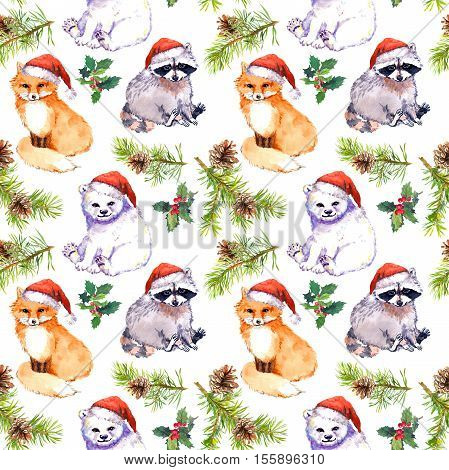 Christmas background with cute animals in red santa's hats, pine branches. Repeating pattern. Watercolor