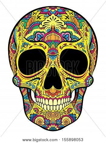 Vector colorful skull graphics with floral ornaments