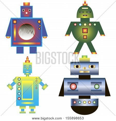 Set of color images of the robot. Vector illustration.
