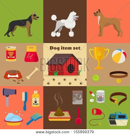 Dog care object set, items and stuff, vector cartoon illustration, food stuff bone kennel collar clothing medicines
