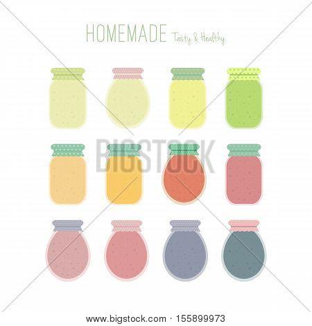 Set of homemade fruit jam or juice jars icons isolated on white background. Colorful mason jars. elements in flat for design