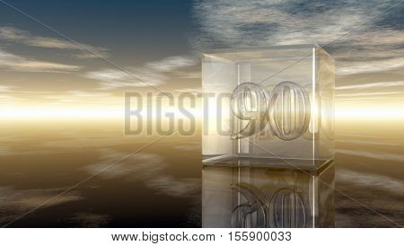 number ninety in glass cube under cloudy sky - 3d rendering