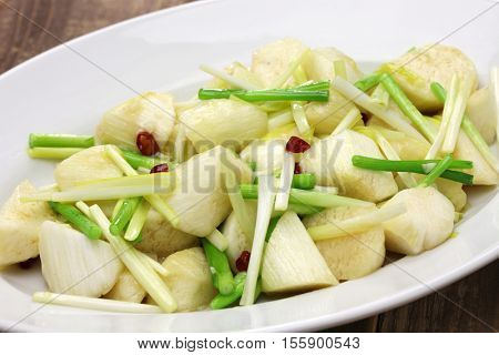 stir fried jiao bai ( enlarged wild rice stem ), chinese cuisine