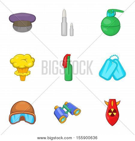Weaponry icons set. Cartoon illustration of 9 weaponry vector icons for web poster