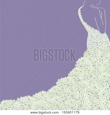 Bride s silhouette in floral dress . Bridal shower wedding invitation card.