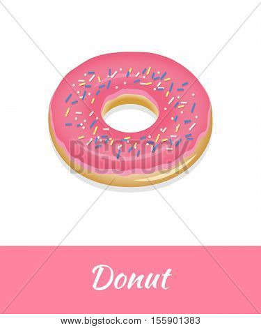 Donut vector food isolated on white background. Fresh donut with pink frosting brochure Breakfast