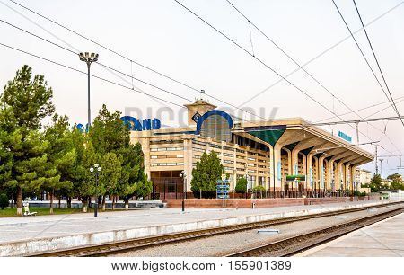 Samarkand, Uzbekistan - August 14, 2016: View of Samarkand Railway Station. The Tashkent - Samarkand high-speed line is capable of speeds up to 250 km-h