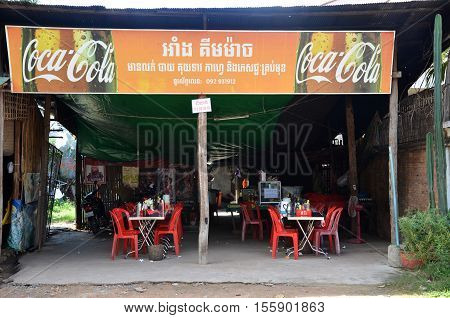 SIEM REAP CAMBODIA - OCT 20 2016: Cambodian stall selling food in the market of Siem Rip in Cambodia