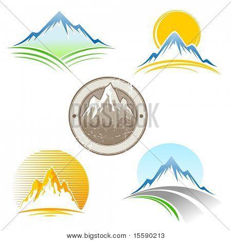Verzameling van vector bergen embleem