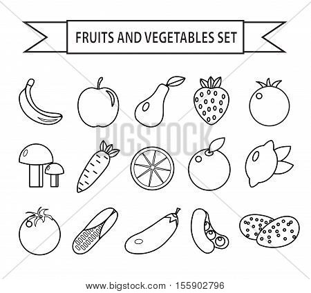 Fruits and vegetables icon set line style. Fruits and vegetables set isolated on a white background. Fruits and vegetables outline. Vegetarian food. Vector illustration