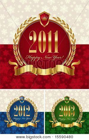 Happy new year - golden vector ornate frames